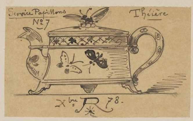 エミール・レベール 蝶のティーポット デッサン画
