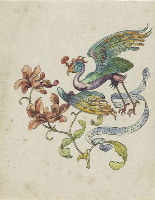 クラウディス・ポプラン 花飾りと空想の鳥の習作 デッサン画