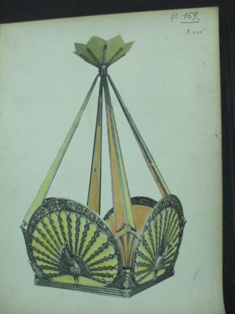 ミューラー兄弟がデザインしたスクエア型のシャンデリアの直筆紙