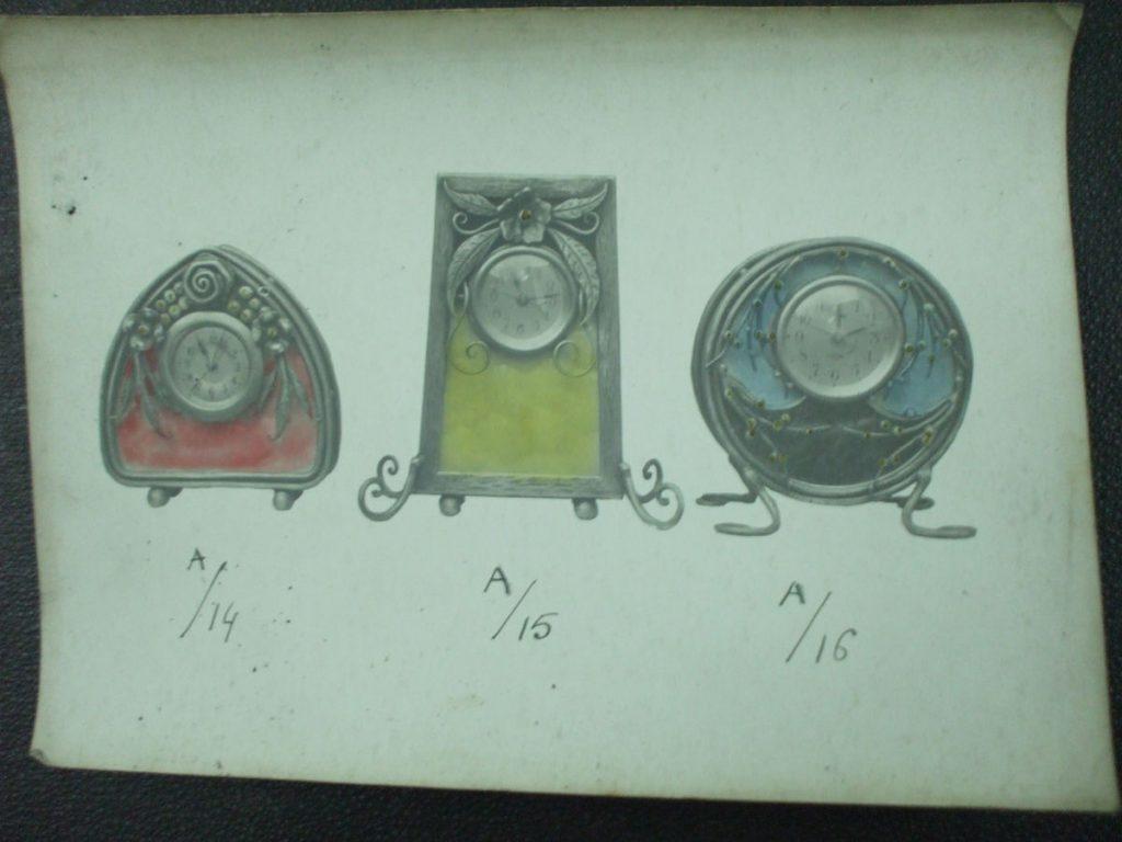 ミューラー兄弟がデザインした花瓶の中に時計が埋め込まれた置物の直筆紙