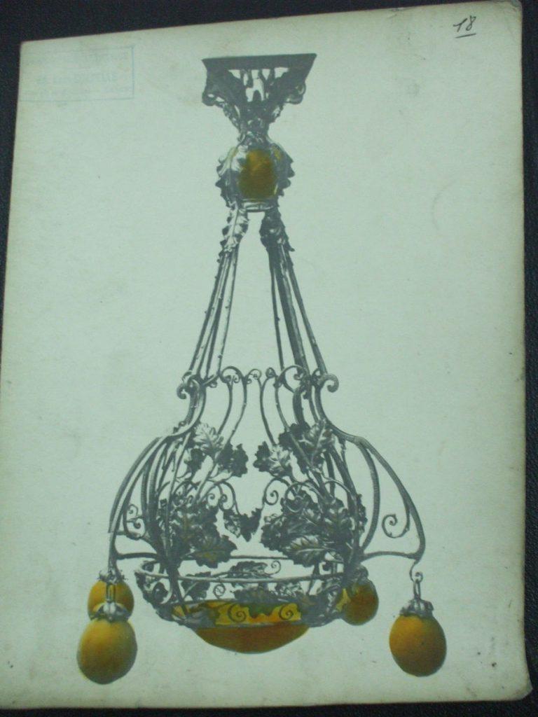 ミューラー兄弟がデザインした5灯シャンデリアの直筆紙(オレンジ)