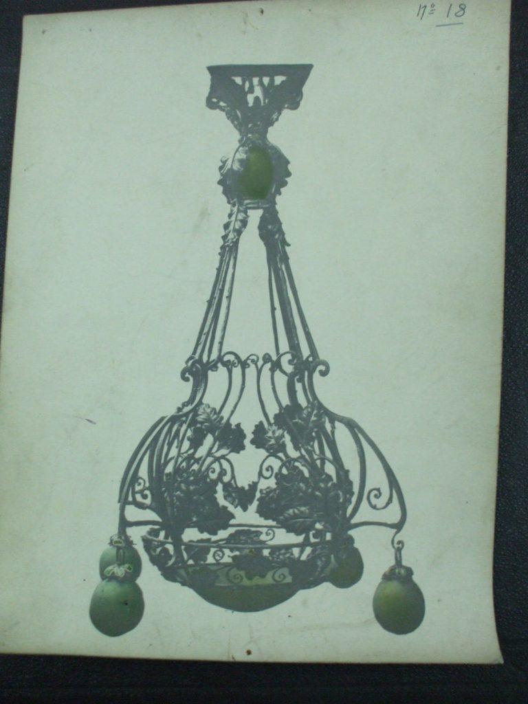 ミューラー兄弟がデザインした5灯シャンデリアの直筆紙(青)