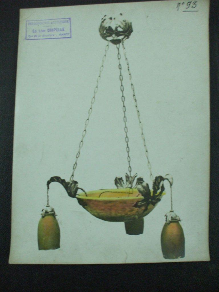 ミューラー兄弟がデザインした4灯シャンデリアの直筆紙(青)