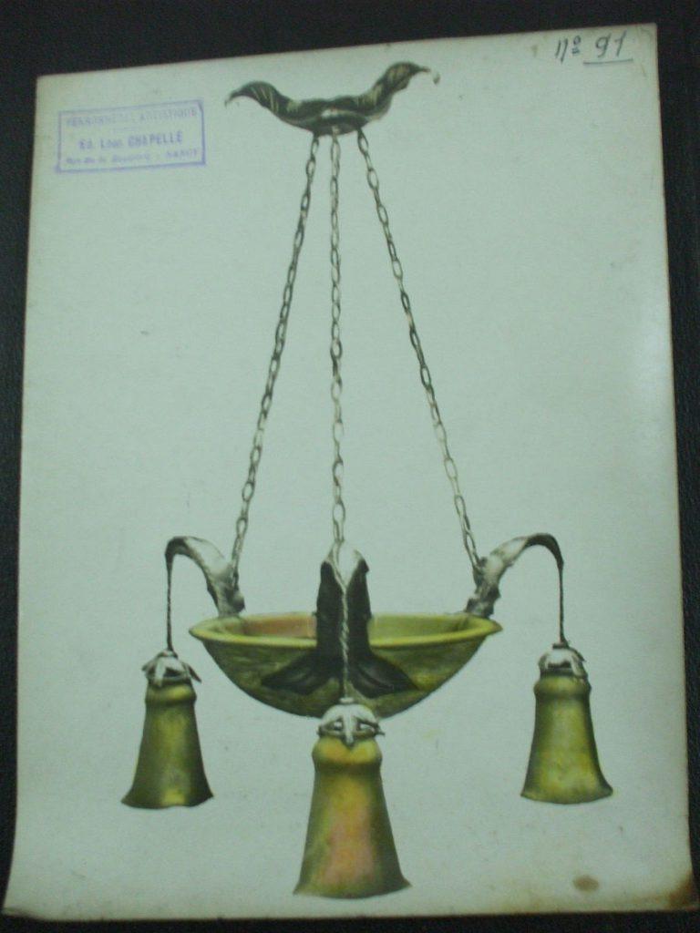ミューラー兄弟がデザインした4灯シャンデリアの直筆紙(オレンジと黄色)