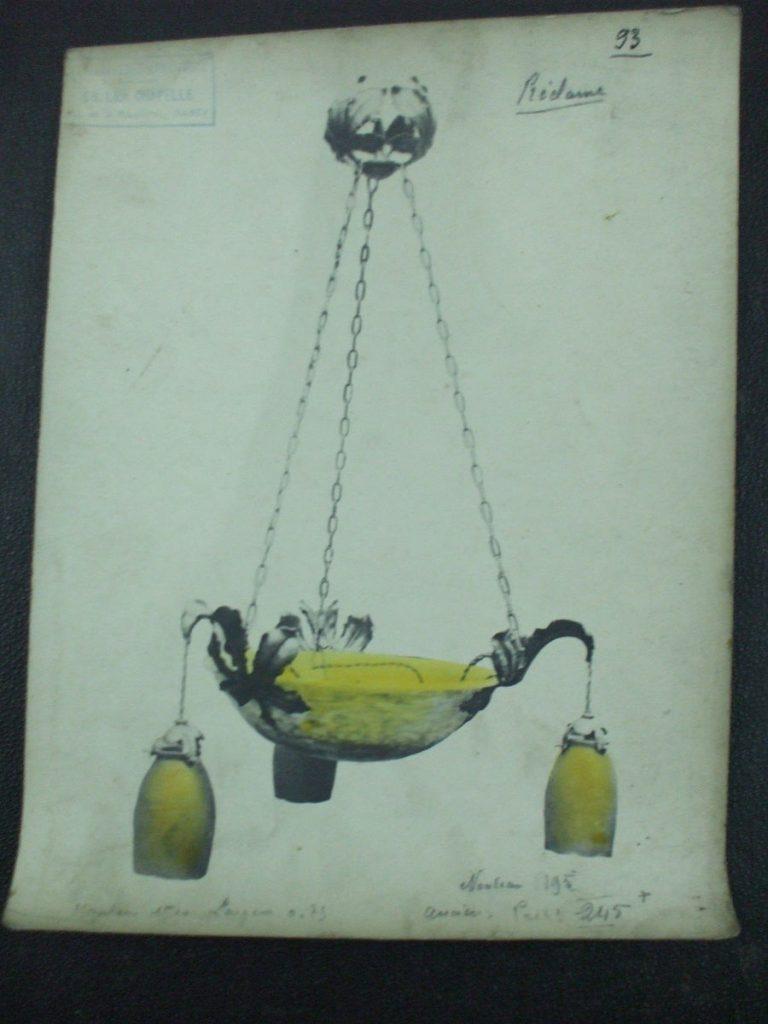 ミューラー兄弟がデザインした5灯シャンデリアの直筆紙(黄色)