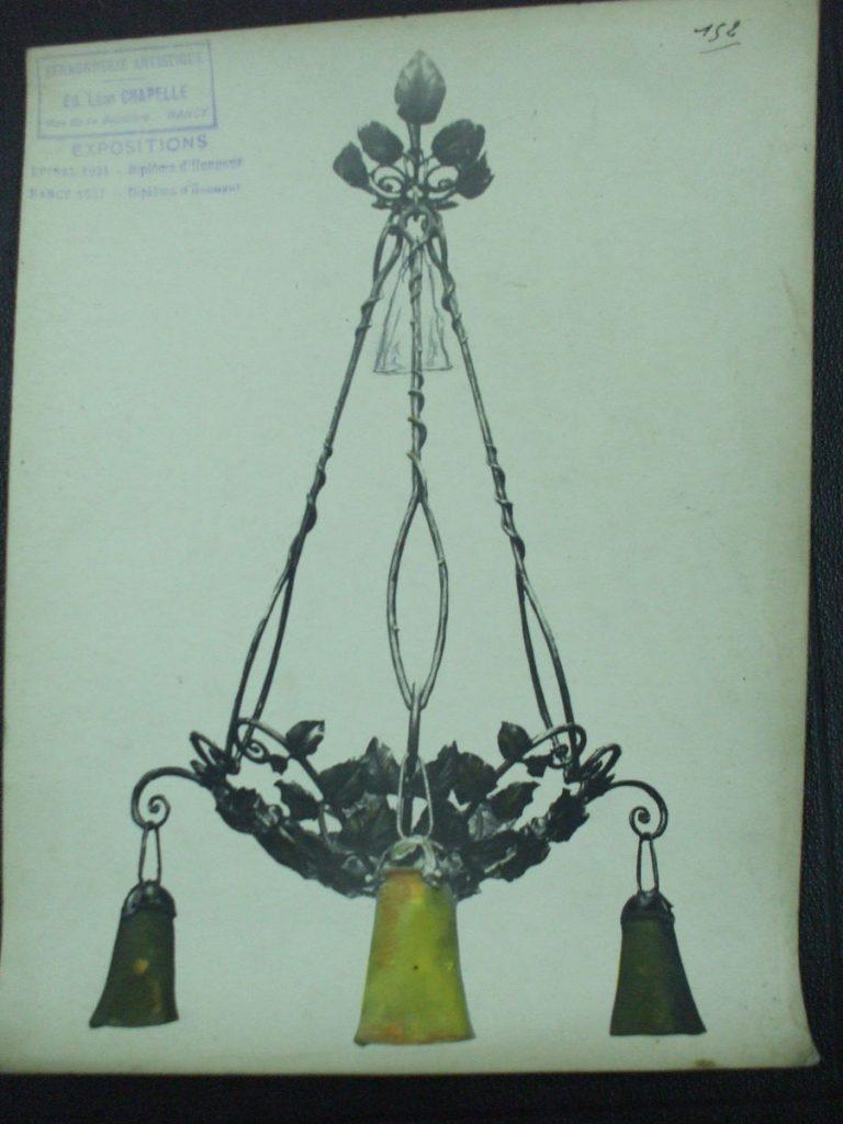 ミューラー兄弟がデザインした3灯シャンデリアの直筆紙(黄色のシェード)