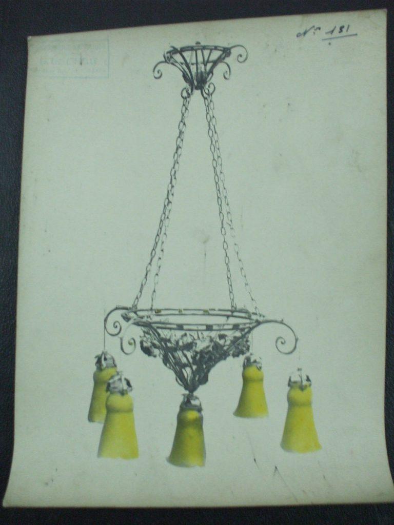 ミューラー兄弟がデザインした5灯シャンデリアの直筆紙(黄色のシェード)