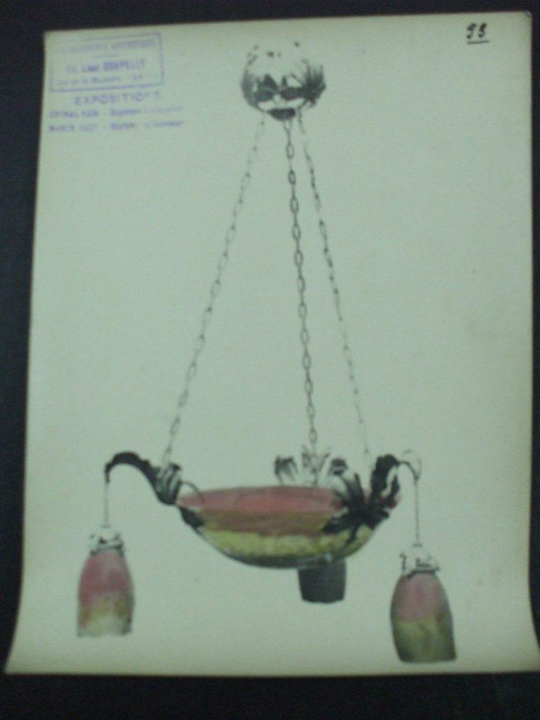 ミューラー兄弟がデザインした4灯シャンデリアの直筆紙(黄色と赤)