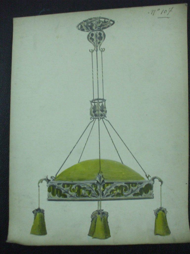ミューラー兄弟がデザインした4灯シャンデリアの直筆紙(アールヌーボー様式)