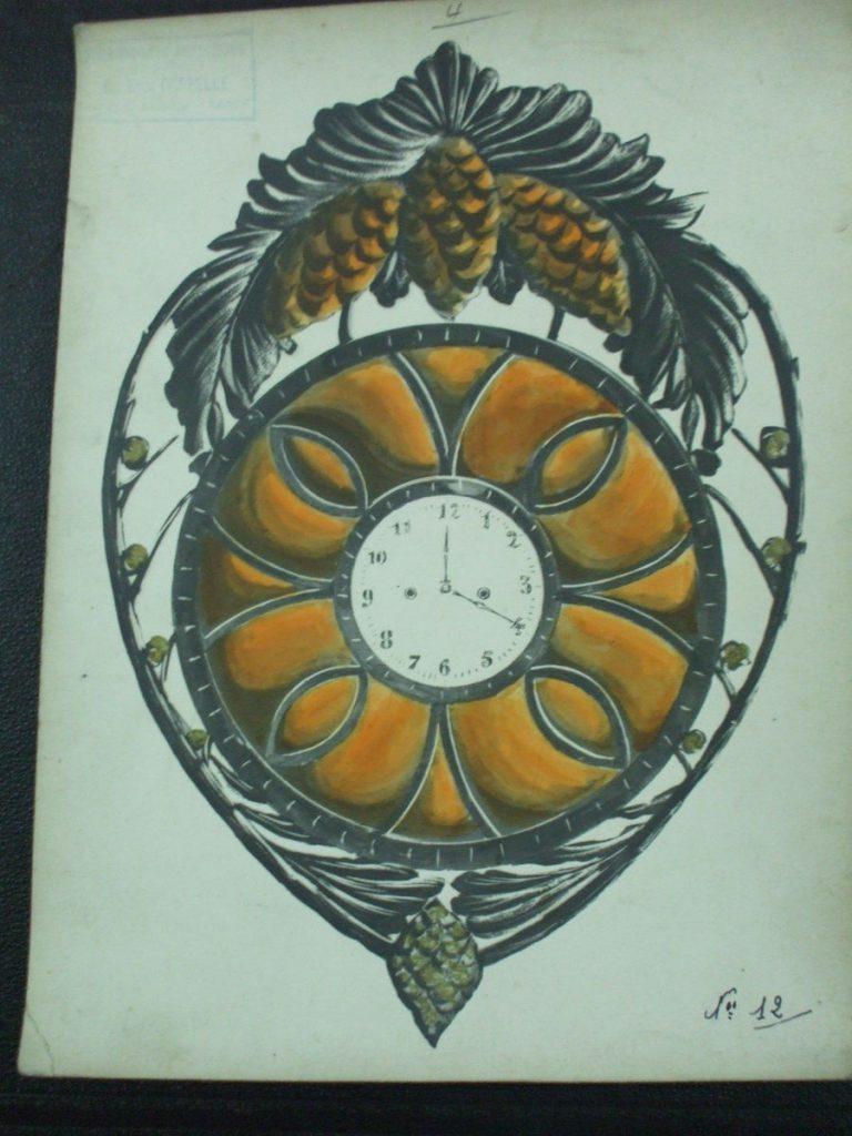 ミューラー兄弟がデザインした壁掛け時計の直筆紙(アールヌーボー様式、松ぼっくりの装飾)
