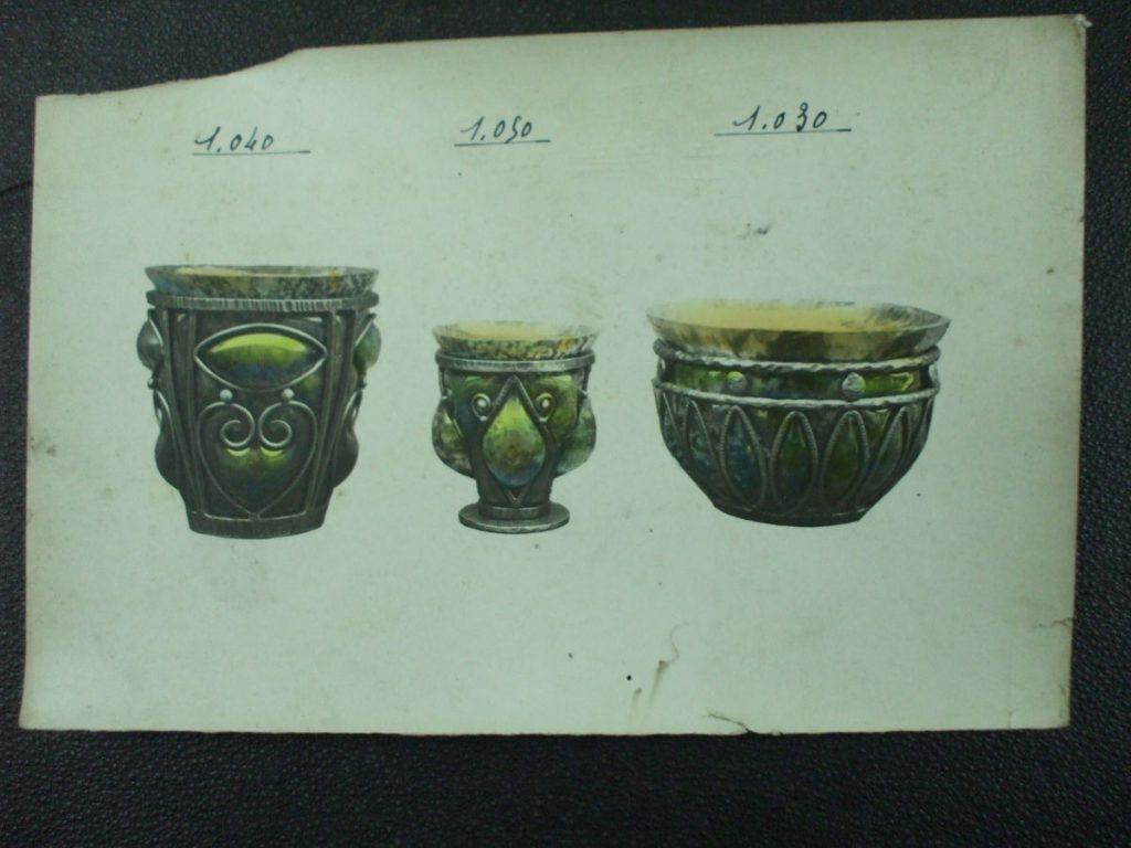 ミューラー兄弟がデザインしたブロンズとガラスの直筆紙(アールデコ様式)