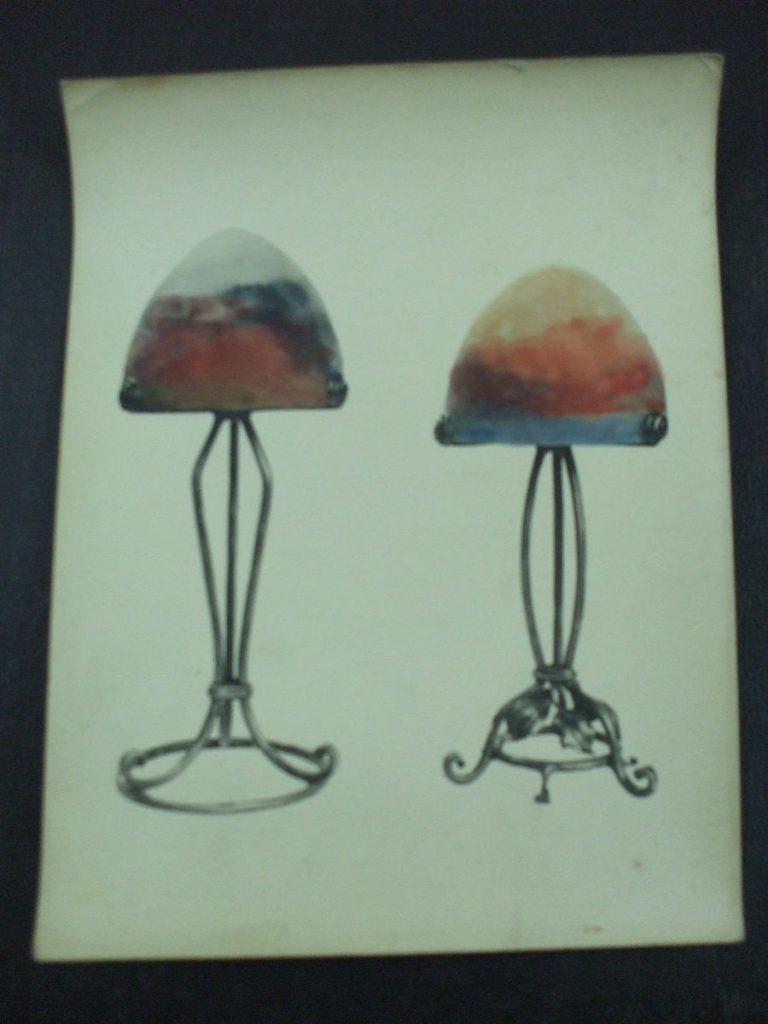 ミューラー兄弟がデザインしたブバスクランプの直筆紙(アールデコ様式)