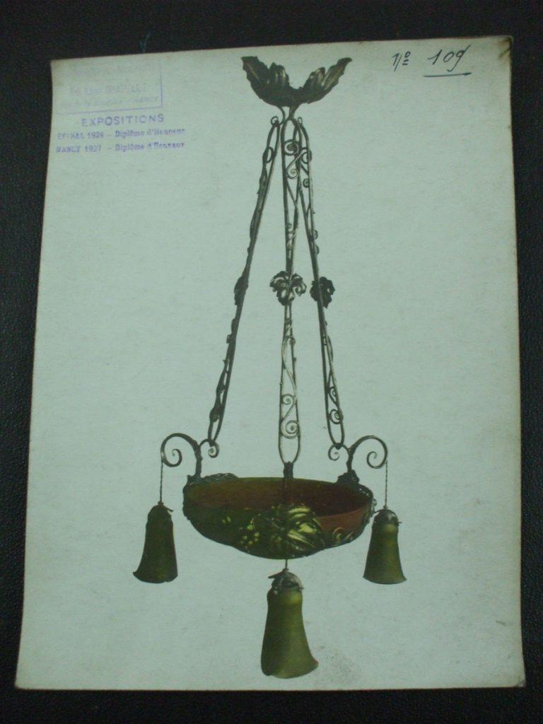 ミューラー兄弟がデザインしたぶどうのシャンデリアの直筆紙(アールデコ様式)