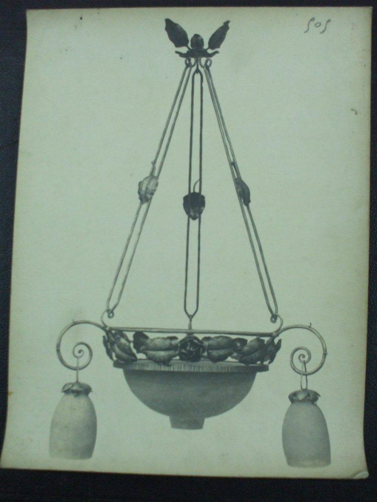 ミューラー兄弟がデザインした4灯シャンデリアの直筆紙(アールヌーボー様式、バラの装飾)