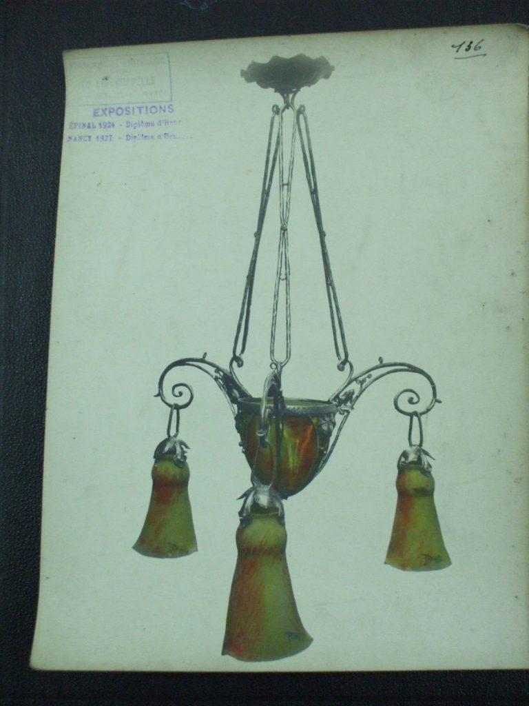ミューラー兄弟がデザインした4灯シャンデリアの直筆紙(アールヌーボー様式、黄色のシェード)