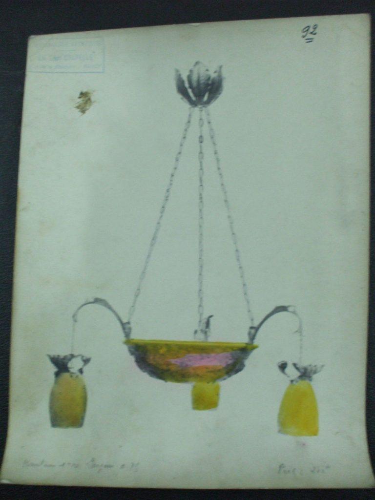 ミューラー兄弟がデザインした4灯シャンデリアの直筆紙(アールヌーボー様式、黄色とピンクのシェード)