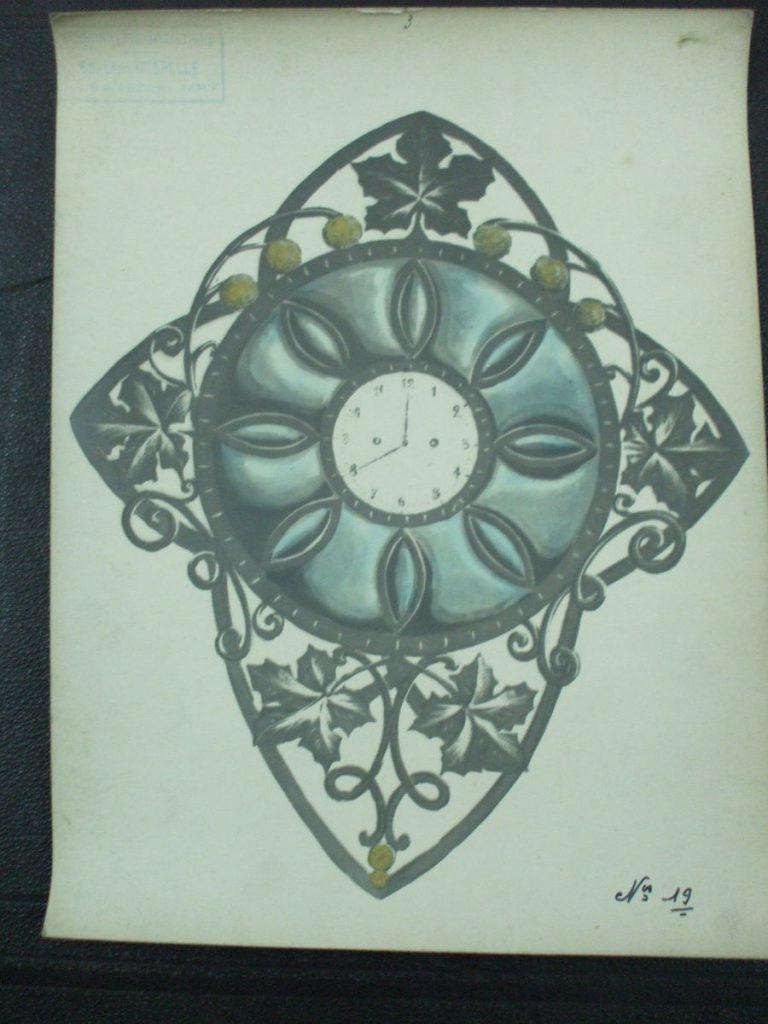 ミューラー兄弟がデザインした壁掛け時計の直筆紙(アールヌーボー様式、大葉の装飾)