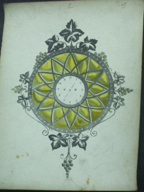 ミューラー兄弟がデザインした壁掛け時計の直筆紙(アールヌーボー様式、大葉とぶどうの装飾)