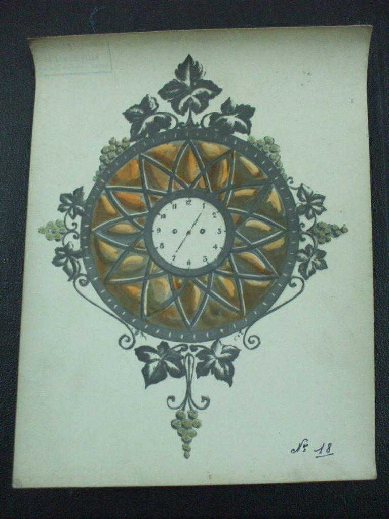 ミューラー兄弟がデザインした壁掛け時計の直筆紙(ぶどうの装飾)