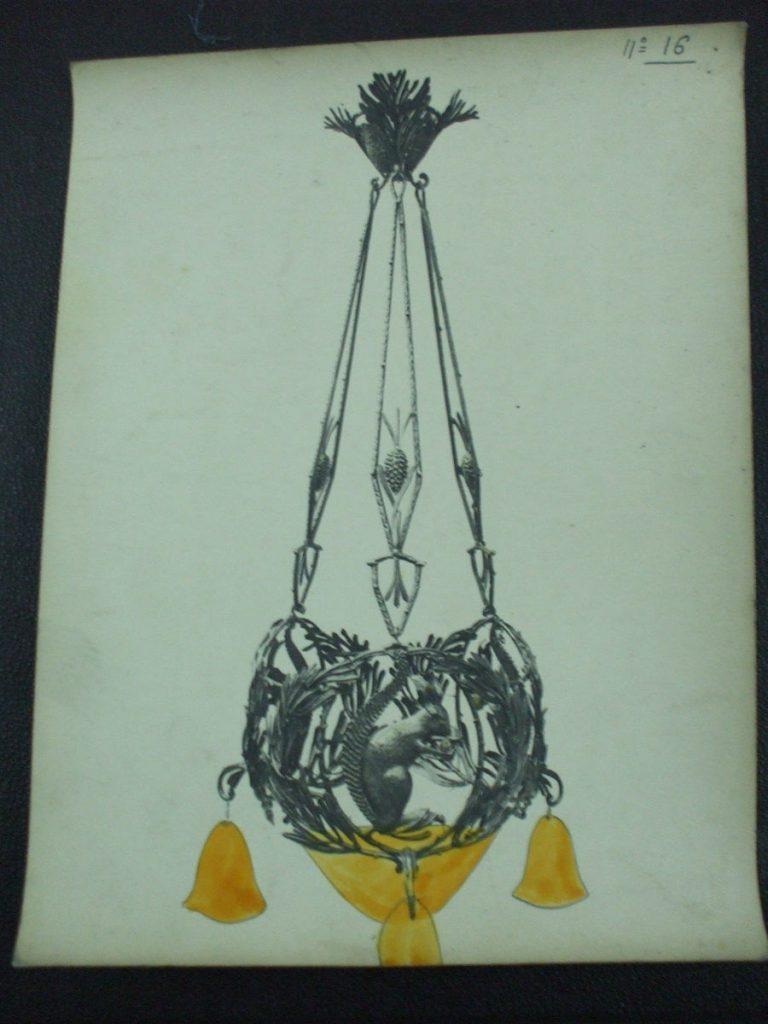 ミューラー兄弟がデザインした4灯シャンデリアの直筆紙